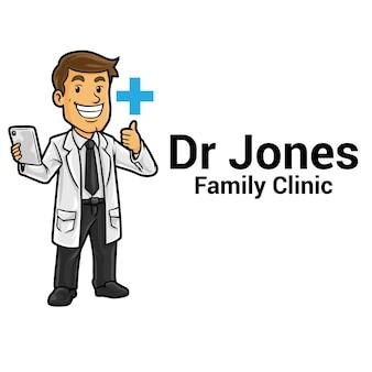 Modèle de mascotte de logo de clinique de soins de santé