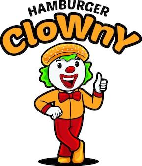 Modèle de mascotte de logo de clown hamburger