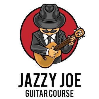 Modèle de mascotte de logo de cours de guitare
