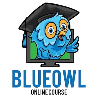 Modèle de mascotte de logo de cours en ligne hibou