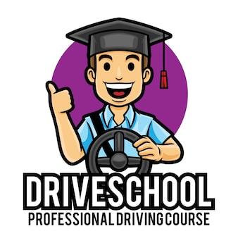Modèle de mascotte de logo de cours de voiture de leçons de conduite