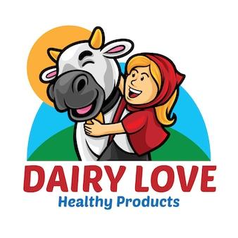 Modèle de mascotte de logo dairy love
