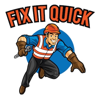Modèle de mascotte de logo fix it quick