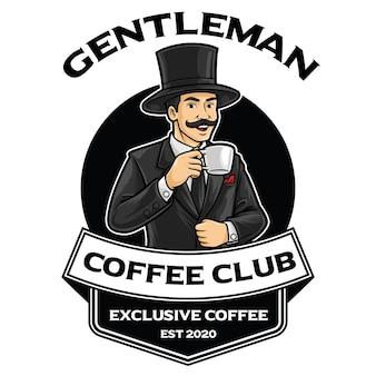 Modèle de mascotte de logo gentleman coffee