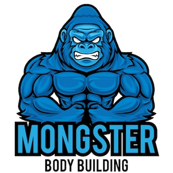 Modèle de mascotte de logo gorilla gym