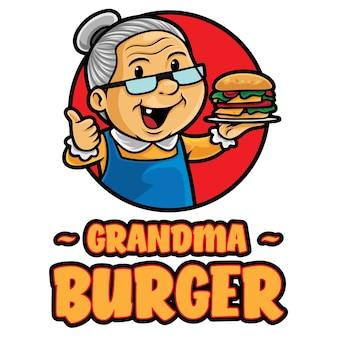 Modèle de mascotte de logo de grand-mère burger