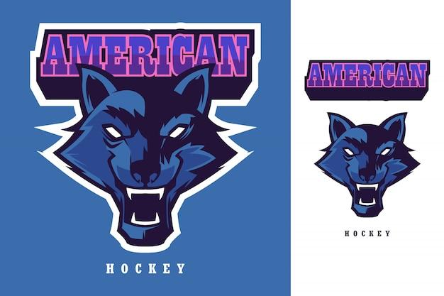 Modèle de mascotte de logo de hockey américain tête de loup