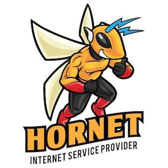 Modèle de mascotte de logo hornet internet service