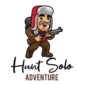 Modèle de mascotte de logo hunt solo adventure