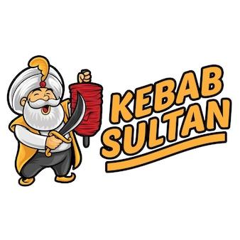 Modèle de mascotte de logo kebab sultan