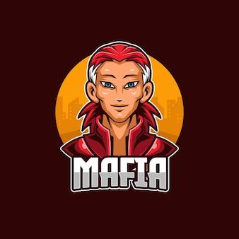 Modèle de mascotte de logo mafia esports