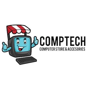 Modèle de mascotte de logo de magasin informatique