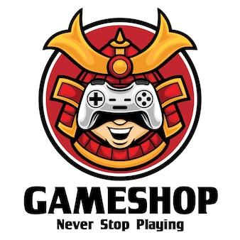 Modèle de mascotte de logo de magasin de jeu de samouraï