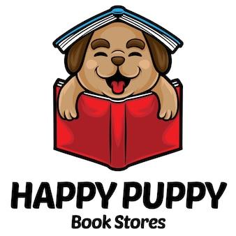 Modèle de mascotte de logo de magasin de livre de chiot heureux