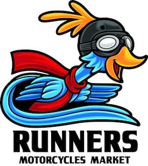 Modèle de mascotte de logo de magasin de moto bird runner