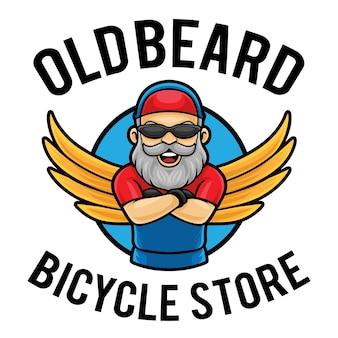 Modèle de mascotte de logo de magasin de vélos