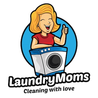Modèle de mascotte de logo de maman de blanchisserie