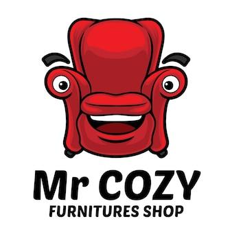 Modèle de mascotte de logo de meubles de canapé confortable