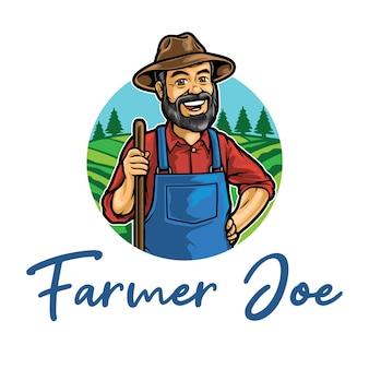 Modèle de mascotte de logo old farmer joe