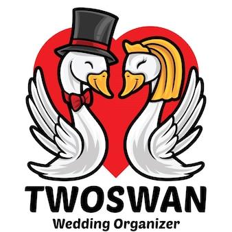 Modèle de mascotte de logo d'organisateur de mariage de cygne