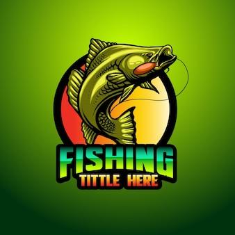Modèle de mascotte de logo de pêche simple