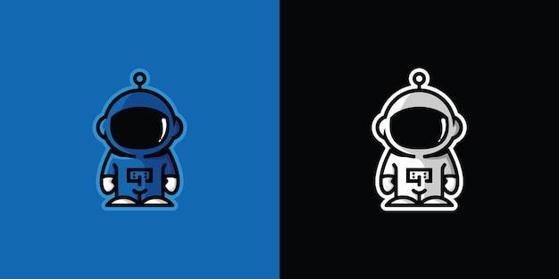 Modèle de mascotte de logo de personnage de robot vecteur premium