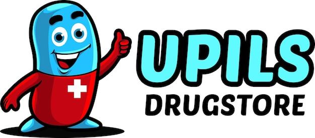 Modèle de mascotte de logo de pharmacie