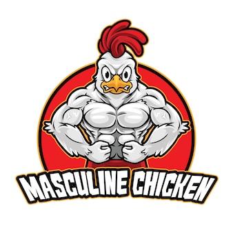 Modèle de mascotte de logo de poulet masculin