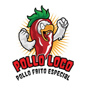 Modèle de mascotte de logo de poulet pollo loco