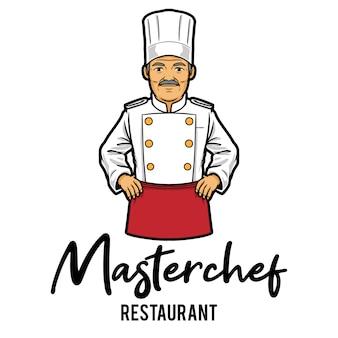 Modèle de mascotte de logo de restaurant masterchef