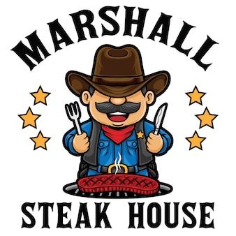 Modèle de mascotte de logo de restaurant steak house