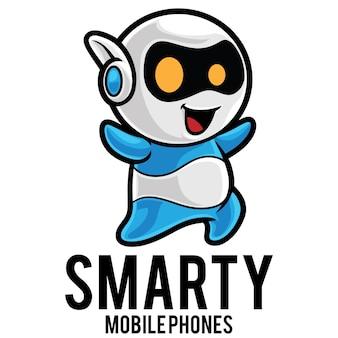 Modèle de mascotte de logo de robot de smartphone