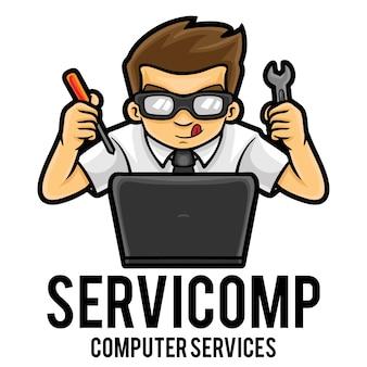 Modèle de mascotte de logo de service informatique