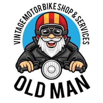 Modèle de mascotte de logo de service de magasin de moto