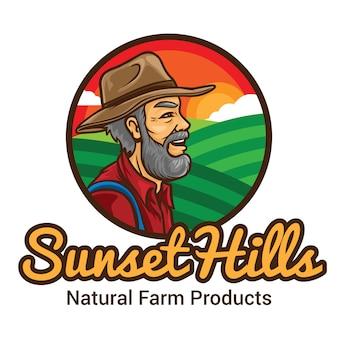 Modèle de mascotte de logo sunset hill farmer