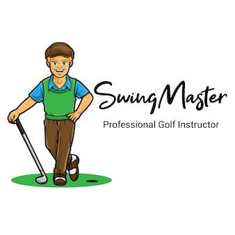 Modèle de mascotte de logo swing master golf