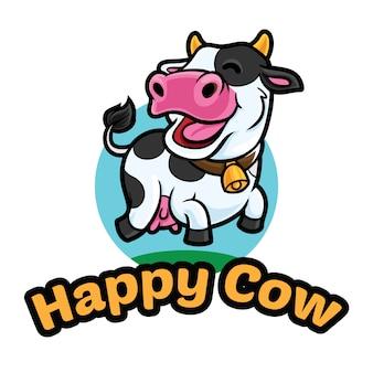 Modèle de mascotte de logo de vache heureuse