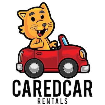 Modèle de mascotte de logo de voiture de location