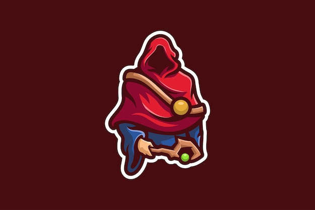 Modèle de mascotte de magicien de cape rouge