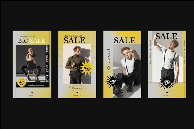 Modèle masculin de vente de gradient histoire instagram