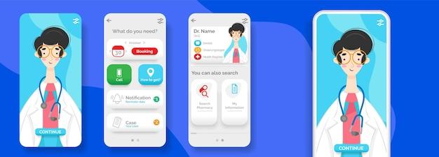 Modèle De Médecin Pour Interface Mobile Vecteur gratuit