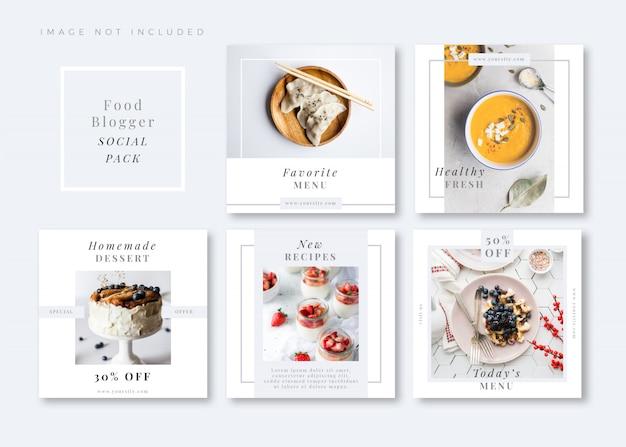 Modèle de média social carré blanc propre et simple foodie