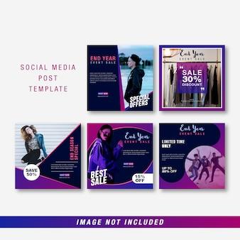 Modèle de média social de fin d'année