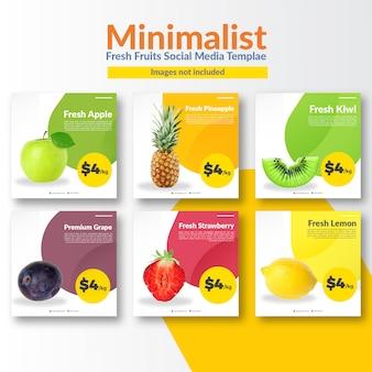 Modèle de média social de magasin de fruits minimaliste