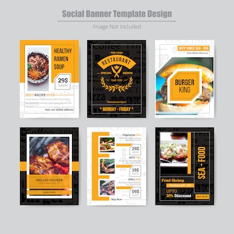 Modèle de média social de menu de restaurant