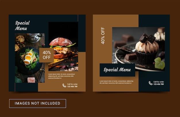 Modèle de média social poster bannière instagram pour vecteur premium de restaurant culinaire alimentaire