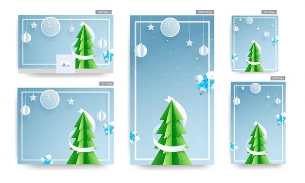Modèle de médias sociaux et affiche sertie de papier découpé arbre de noël, horloge murale, boîtes-cadeaux, boules suspendues et étoiles décorées sur fond bleu.
