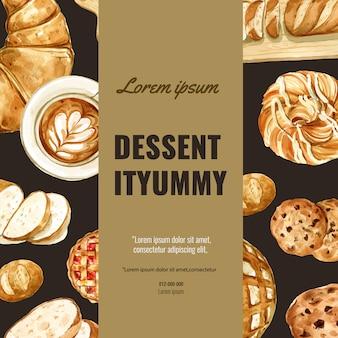 Modèle de médias sociaux de boulangerie. collection de pain et brioche. fait maison