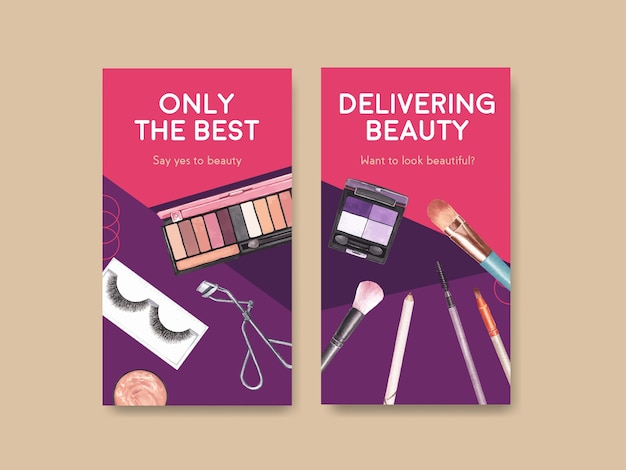 Modèle de médias sociaux avec conception de concept de maquillage pour les médias sociaux et l'aquarelle communautaire.