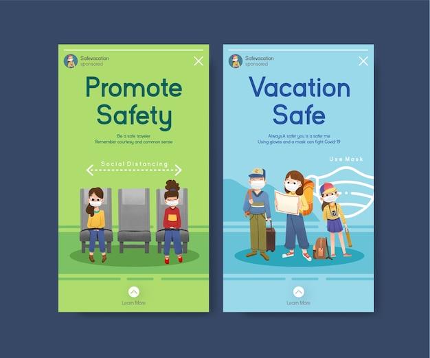 Modèle de médias sociaux avec conception de concept de prévention covid-19 pour un nouveau style de vie normal.